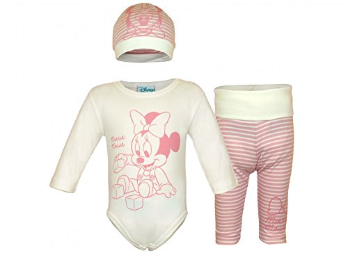 Disney - Minnie Mouse Mädchen BABY-SET 3-teilig aus BIO-BAUMWOLLE, Baby-Body mit Hose und Mütze in GRÖSSE 56, 62, 68, 74, 80, Spiel-Anzug, Schlaf-Anzug langärmlig, tolles Geschenk Größe 80