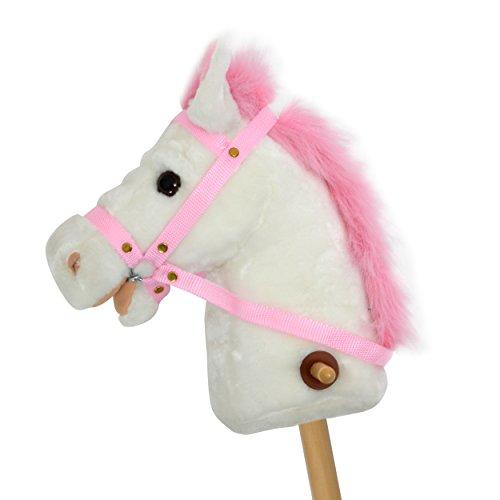 Pink Papaya Steckenpferd, Lilly, süßes Spielzeug Pferd aus Plüsch mit Sound Funktion: Gewieher und Galoppgeräusch - Farbe: weiß mit rosa Mähne