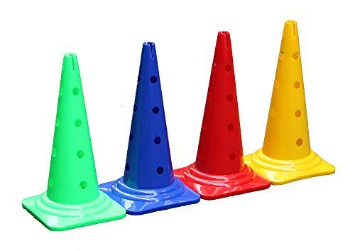 Boje Sport 4er Set Mehrzweckkegel mit Loch - Premium - 50 cm je 1x in der Farbe: rot, gelb, blau, grün - Kombi Kegel Lochkegel Kegelhürde -