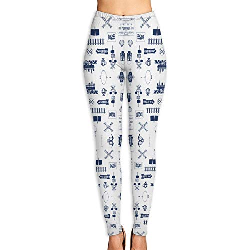 Deglogse Yogahosen, Trainingsgamaschen,Navy Railroad Symbols Small Yoga Pants for Women Sport Tights Workout Running Leggings