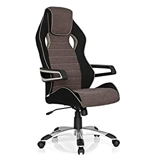 hjh OFFICE RACER PRO III – Silla gaming o de oficina, tejido negro, gris y beige