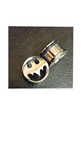 Batman (acciaio), lato singolo, con tunnel %2F Vaso con anelli, in acciaio chirurgico 316l, in nichel, 1 coppia, diverse misure disponibili e Acciaio inossidabile, cod. 1