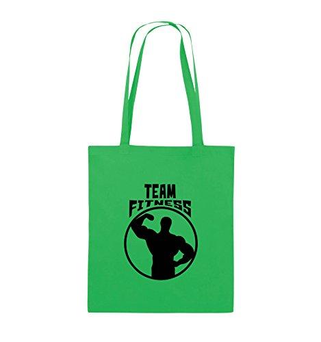 Comedy Bags - TEAM FITNESS - Jutebeutel - lange Henkel - 38x42cm - Farbe: Schwarz / Silber Grün / Schwarz