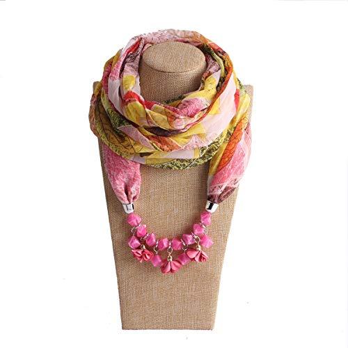 Easy Go Shopping New Damen Schal Print Chiffon Square Harz Harz Floral Halskette Anhänger Schal (Farbe : Pink Leaves, Größe : Free Size)