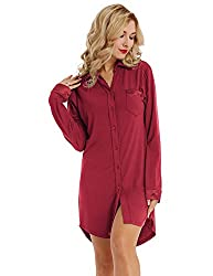 Damen Nachthemd Knopfleiste für Frauen Schlafhemd Schlaf Shirt Langarm Reverskragen Nachtwäsche Rot S