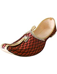 kalra Creations Zapatos de terciopelo tradicional de la India–para hombre, color Rojo, talla 39.5 EU