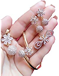 M CREATION Combo Of Gold Plated White Colored And American Diamond Pendant With Earrings, Bracelet And Ring For...