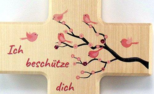 Christshop Schutzengelkreuz, Taufkreuz, Kinderkreuz mit Schutzengel Ich beschütze Dich in rosa mit Swarowski-Schmucksteinchen - 2
