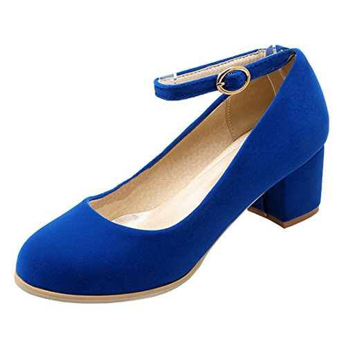 YE Damen Chunky Heels Pumps Ankle Strap High Heels Geschlossen mit Schnalle und Blockabsatz 5cm Bequem Elegant Schuhe