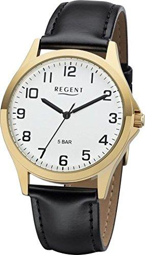 Regent 11100293 Montre à quartz noir, bracelet en cuir, hommes