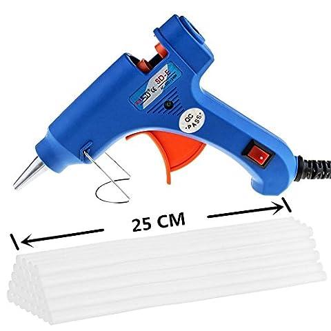 Maike High Mini pistolet à colle chaud avec Lot de 30 bâtons de colle ( 7 x 250 mm ) haute température Schm elzkleb Kit pistolet Trigger Flexible pour DIY de petite de projets Craft (20 W, bleu) - Colorata Tessuto Blu