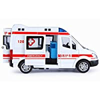 GFLD Pull Back Toy Simulation alloy car model sound and light pull back side door public security ambulance police car children