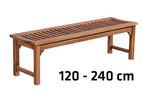 CLP Teakholz Garten-Bank HAVANA V2 ohne Lehne, Teak-Holz massiv (bis zu 8 Größen wählbar) 160 x 45 x 45 cm