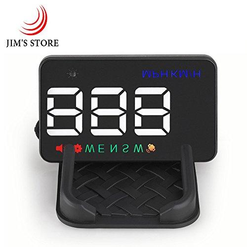 Auto Head up Display, JIM'S STORE A5 hud Display Plug & Play KMH MPH GPS Geschwindigkeitsmesser, Automatischer Lichtsensor, Kompass, Geschwindigkeitsalarm mit Skid-Pad für alle Fahrzeugmodelle