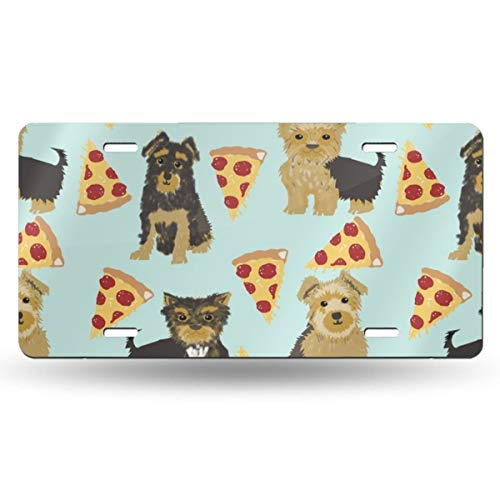 Yorkie Pizza, Yorkshire Terriers Pizza Funny Cute Dog Novelty Food Print Best Dogs for Home Dec 20528 Aluminum License Plate Cars Tag Cars 12 X 6 Inch - Yorkie Food Dog