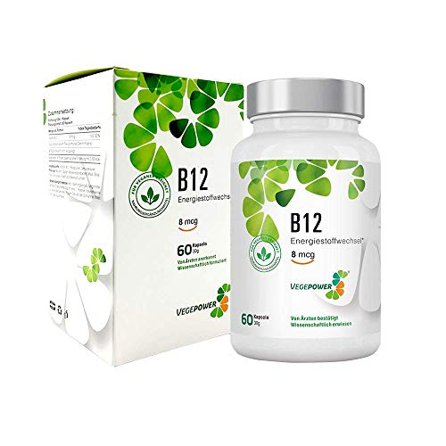 VegePower Vitamin B12 Kapseln - B12 trägt zur Verringerung von Müdigkeit bei - Laborgeprüft, vegan, Hergestellt in Deutschland