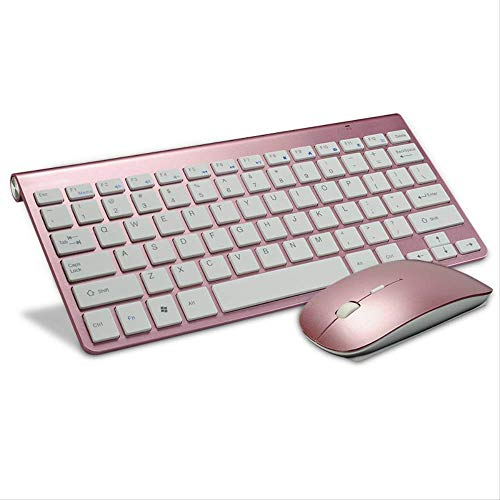 LMDZSW Russische Tastatur Ultradünne kabellose Tastatur Maus Combo 2,4 g kabellose Maus für Apple Keyboard Style Mac Win XP / 7/8/10 TV-Box   Rose Pink Englisch (Tv Pink Apple)