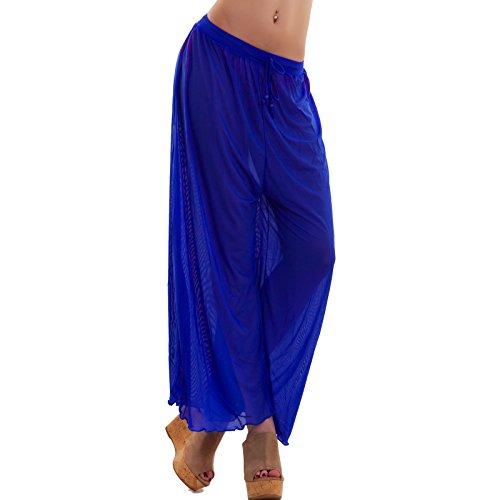 Toocool - Pantaloni donna leggeri mare copricostume trasparenti velati nuovi UP14159 Blu