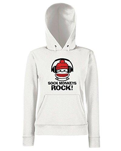 T-Shirtshock - Sweats a capuche Femme OLDENG00253 sock monkeys rock Blanc