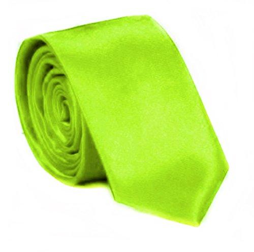 Slim Krawatte schmale Krawatten Schlips Binder Anzug Krawatten Mode edel Satin viele Farben 5cm (Neon Grün)