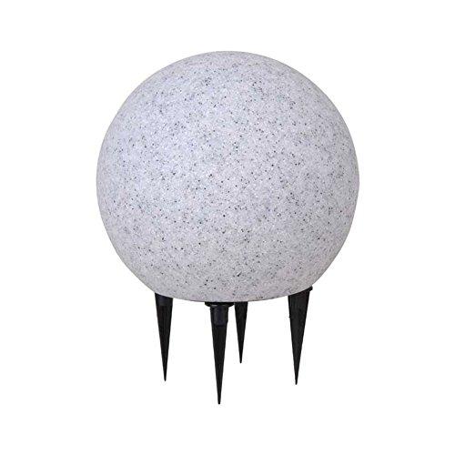 Kugelleuchte 20cm, Stein-Optik grau, mit Erdspieß, 5m Kabel Zuleitung, Garten-Kugellampe, winterfest, Kunststoff witterungsbeständig, Beetlampe, LED tauglich E27, naturstein-optik, granit-optik, Aussen