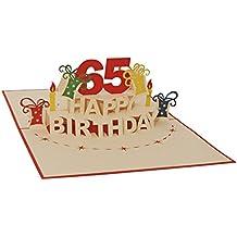 Favour Pop Up tarjeta de felicitación para redondos 65cumpleaños. Una originelle 3d tarjeta de felicitación, un de mano gearbeitetes Filigrana de arte, que se al abrir la gestalteten rojas engomado entfaltet. ta65r