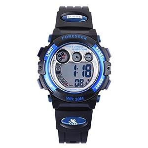 FORESEEX Kinder Uhr Digital Quarz mit Polyurethan Armband Blau 555G1
