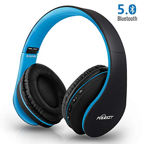 Bluetooth Kopfhörer, Puersit Kopfhörer Kabellose Stereo Faltbare Headset Over Ear Kopfhörer mit Integriertem Mikrofon für Handys/iPad/Laptops & PC (Black-Blue) Bluetooth-kopfhörer Laptop