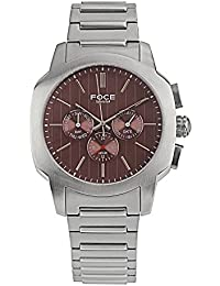 FOCE Silver Round Analog Wrist Watch for Men with Silver Metal Strap - F976GSM-BROWN