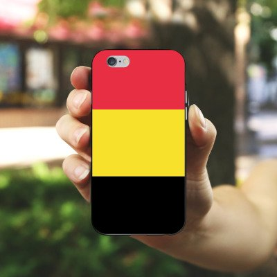 Apple iPhone X Silikon Hülle Case Schutzhülle Belgien Flagge Fußball Silikon Case schwarz / weiß