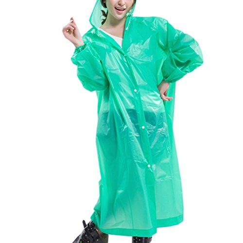 Zhhlaixing Womens Slim Portable Waterproof EVA Hooded Rain Poncho Raincoat 80522 Green