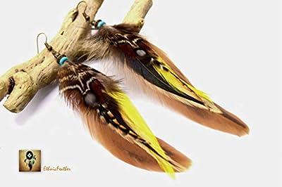 ETHNICFEATHER - Boucles d'oreilles plumes Chayton - Ethnic Feather - Bijoux ethniques - Bijoux indiens, boucles oreilles en plumes naturelles