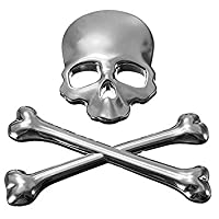 Skeleton Car Sticker - TOOGOO(R)3D Skull Metal Car Sticker Auto Motor Skeleton Crossbones Emblem Badge Label Silver