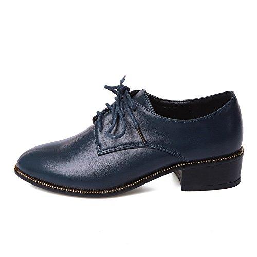 AllhqFashion Damen Rein Weiches Material Niedriger Absatz Schnüren Rund Zehe Pumps Schuhe Knallblau