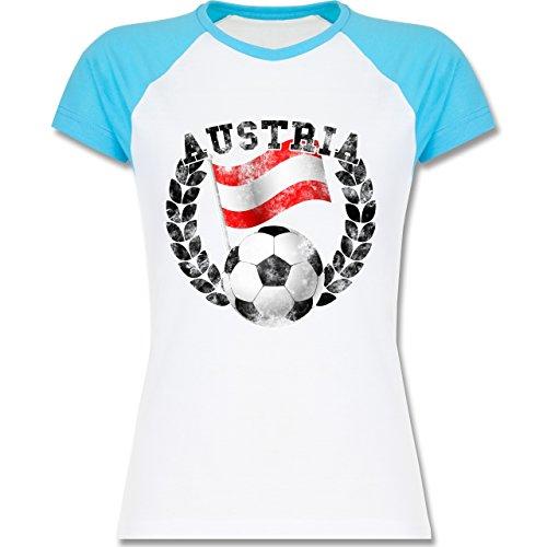 EM 2016 Frankreich Austria Flagge Fußball Vintage zweifarbiges Baseballshirt  / Raglan TShirt für Damen Weiß/Türkis