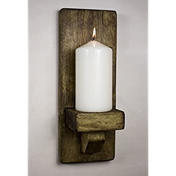 RUSTIC WOODEN WALL SCONCE CANDLE HOLDER (Dark Oak): Amazon ...
