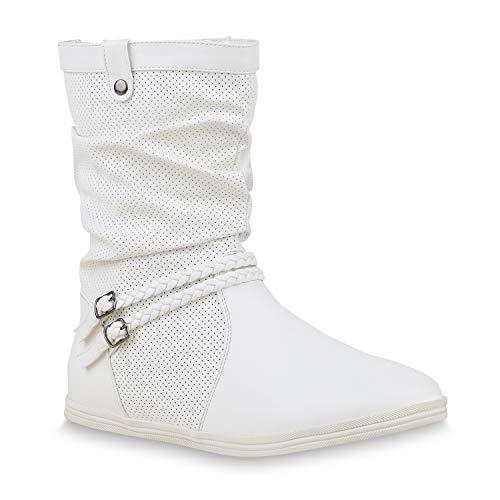 Bequeme Damen Stiefel Schlupfstiefel Lochungen Flache Boots Leder-Optik Metallic Schuhe 49214 Weiss 42 Flandell (Mann Hacke Kostüm)