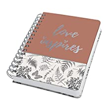 SIGEL JN605 Spiral Notebook Premium Jolie, Approx. A5, Dotted, hardcover, 240 Pages, Black/White/Brown,Botanical Inspiration
