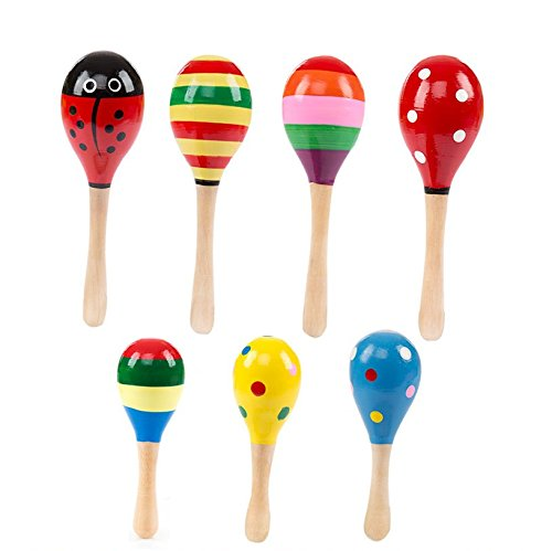 RICISUNG Colorful Wooden Egg Maracas Shakers Musical Percussion