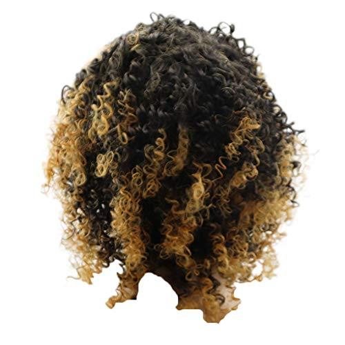 Coconano Pelucas Sintéticas Rizadas Afro Para Las Mujeres Negras Peluca Rizada Rizada Rizada Marrón Corta Peluca Fluffy Del Aspecto Natural a Prueba De Calor Completa Con El Casquillo De La Peluca