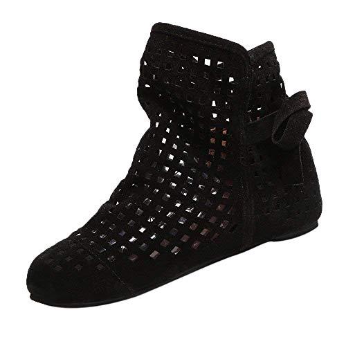 Qiusa Botines Planos, Zapatos de Mujer, 70S, gótico Retro de Invierno, con Cordones, Cremallera, Puntera de Acero, Plantillas para Montar para Damas (Color : Negro, tamaño : 4.5 UK)
