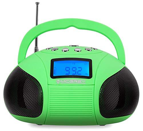 McGrey MC-50BT-GR Bluetooth Lautsprecher - Boombox mit UKW Radio-Wecker und Uhr - USB und SD Player - Betrieb über auswechselbaren Handy Akku oder Netzteil - Grün
