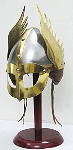 Shiv Shakti Enterprises Medieval Mask Viking Helmet Replica Armor Warrior Helmet With Wooden Stand and