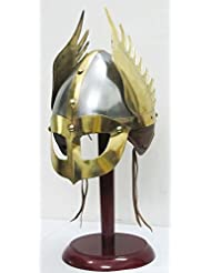 Medieval Mask Viking Helmet Replica Armor Warrior Helmet With Wooden Stand and Liner by Shiv Shakti Enterprises