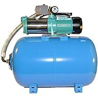 Wasserpumpe 130 l/min 1,30 kW 230V mit Druckschalter und Manometer und 50 80 100 L Druckkessel Jetpumpe Gartenpumpe Hauswasserwerk Kreiselpumpe (50L)