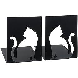 Moses. 82778libri x-Sujetalibros Gato | Dos Juego de soporte para libros en metal negro | con acabado ausgestanzten Gatos