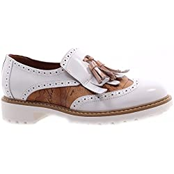 Scarpe Donna ALVIERO MARTINI 1°Classe Slip On Fringe White Milk Geo Bianche New