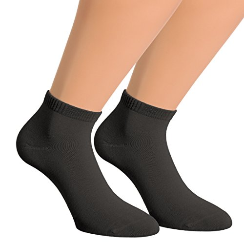 Vitasox 43015 Damen Herren Kurzsocken Bambus Sneakersocken einfarbig ohne Naht schwarz 12er Pack 35/38
