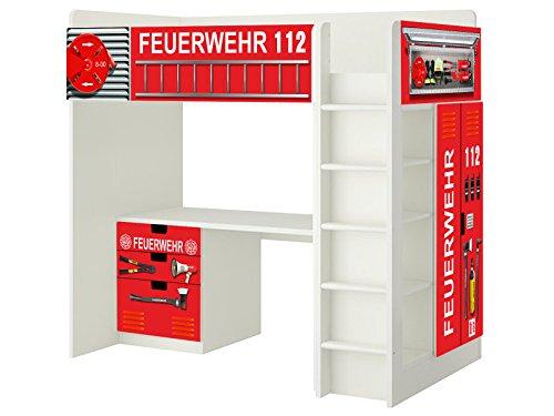 *Feuerwehr Aufkleber – SH01 – passend für die Kinderzimmer Hochbett-Kombination STUVA von IKEA – Bestehend aus Hochbett, Kommode (3 Fächer), Kleiderschrank und Schreibtisch*