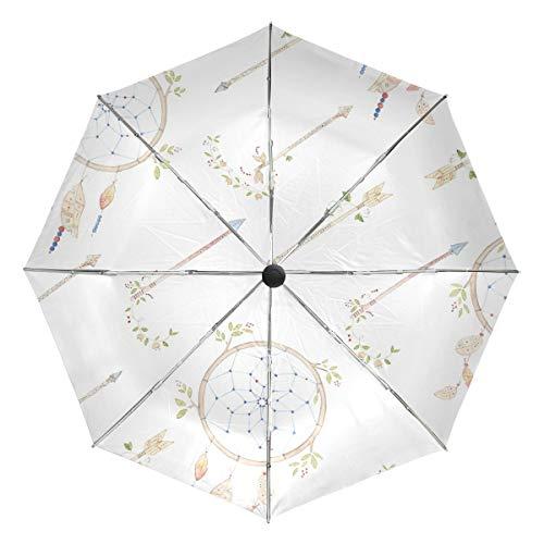 MONTOJ - Paraguas con diseño de Flechas de Acuarela y atrapasueños para Viajes y el Sol y la Lluvia, protección UV con botón de Apertura automática